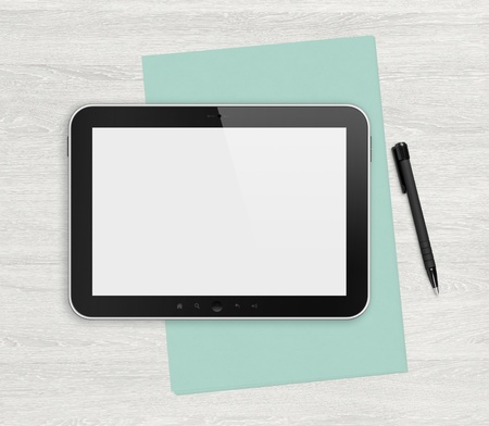Modern blank digital tablet, papers and pen on a blank wooden desk Top view High quality detailed graphic collage