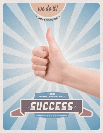 vote: Retro or vintage advertising poster with hand giving a thumbs up gesture promising of best service, satisfaction guarantee and 100  success
