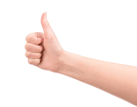 Female hand showing a thumb up gesture  Isolated on white Stock Photo - 18793758