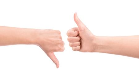 dislike: Weeg alle voor-en nadelen gebaar concept geïsoleerd op wit Stockfoto