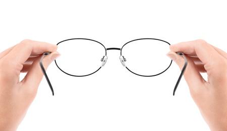 peer to peer: Mujer con gafas en las manos aisladas en blanco