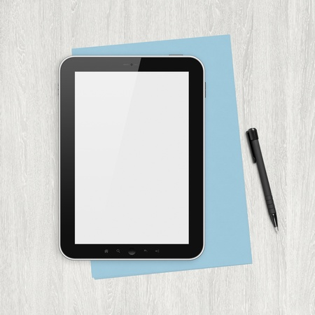 front desk: Modern blank digital tablet, papers and pen on a blank wooden desk. Top view. High quality detailed graphic collage. Stock Photo