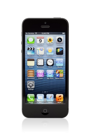 mobilephones: Kiev, Ukraine - January 9, 2013: The new black Apple iPhone 5, sixth generation version of the iPhone is slimmer and lighter model with new high-resolution, 4-inch screen display. Editorial