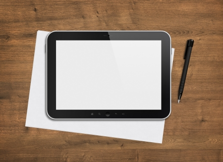 Blank modern digital tablet with papers and pen on a wooden desk  Top view  High quality detailed graphic collage  photo