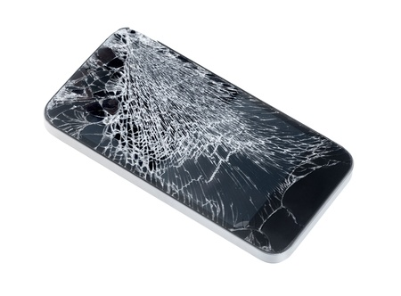 Modern mobile smartphone with broken screen isolated on white background  Stock Photo