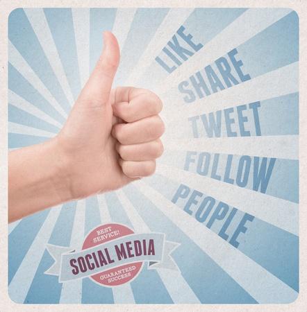 redes de mercadeo: Cartel del estilo retro con la mano que muestra el pulgar hacia arriba gesto rodeado de palabras clave en el tema de las redes sociales Foto de archivo