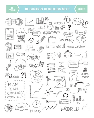 business planning: Hand drawn illustration of business doodles elements  Isolated on white background Illustration
