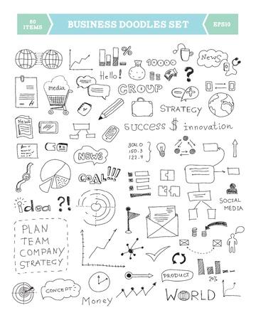 planning diagram: Illustrazione disegnata a mano di scarabocchi di business elementi isolati su sfondo bianco