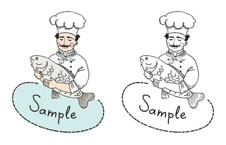 Vector illustratie van de chef-kok met vis die kan gebruiken als logo template Een bord van een restaurant waarvan verwelkomt potentiële klanten te vissen maaltijden proeven