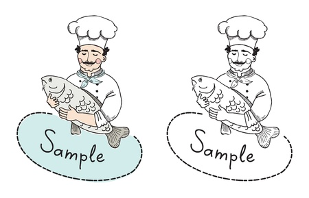 icons: Vector illustration of chef with fish which can use as logo template  A sign board of a restaurant which welcomes potential clients to taste fish meals  Illustration