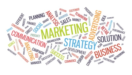 Marketing Business Strategy word cloud illustrazione isolato su sfondo bianco
