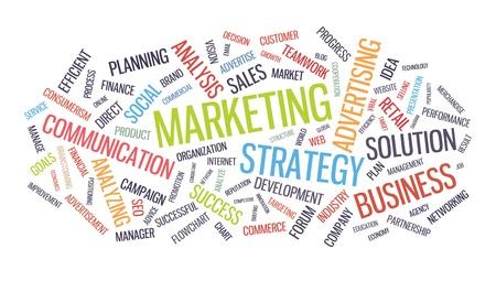 Marketing Geschäftsstrategie word cloud illustration auf weißem Hintergrund Vektorgrafik