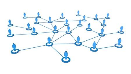 network marketing: 3d de alta calidad de hombres de negocios de la red conexiones concepto aislado en el fondo blanco
