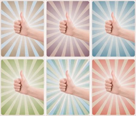 denominado retro: Conjunto de seis modelos de estilo retro ou vintage cartazes com o polegar acima do gesto do sucesso em um diferentes origens grunge texturizadas Banco de Imagens