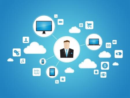 Concept abstrait de vecteur graphique homme d'affaires utilisant le réseau de cloud computing avec des appareils de technologie isolé sur fond bleu