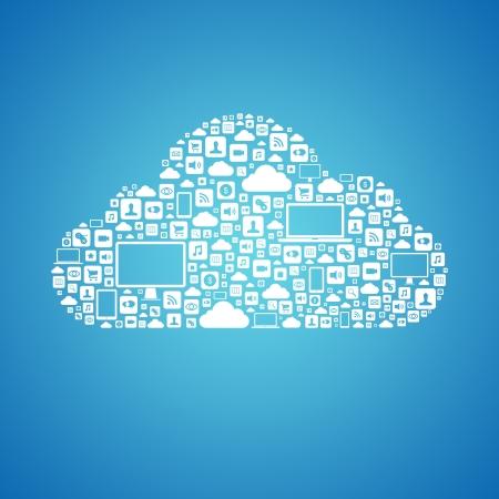 하부 구조: 파란색 배경에 고립 구름 모양을 형성하는 많은 그래픽 아이콘으로 클라우드 컴퓨팅의 추상적 인 벡터 개념 일러스트