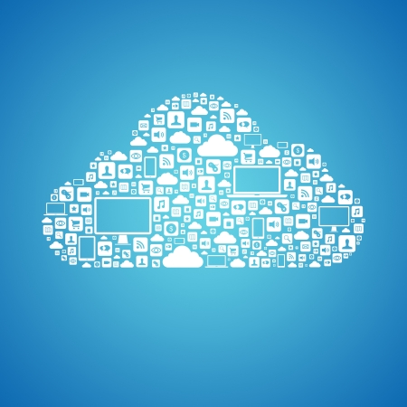 Abstract vector concept of cloud computing with many graphic icons which form a cloud shape  Isolated on blue background