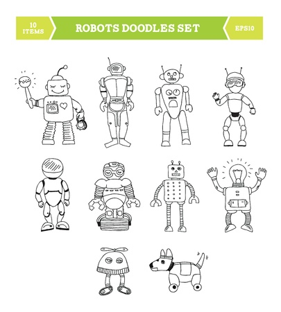 Hand drawn vector illustration of robots doodles elements  Ten robots drawn in different poses by hand  Isolated on white background Stock Vector - 19152618