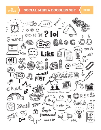 Hand drawn vector illustration of social media doodles elements  Isolated on white background  Vector