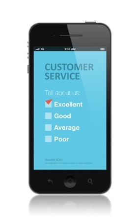 web survey: Moderno tel�fono m�vil con el formulario de encuesta de servicio al cliente en una pantalla. Marca roja en excelente casilla que muestra la satisfacci�n del cliente. Aislado sobre fondo blanco.