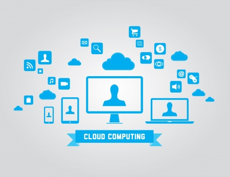 illustration of cloud computing technology concept with abstract icons and design elements  Isolated on gray background Vector