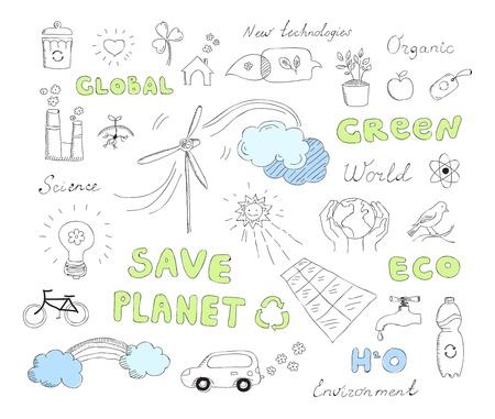 recyclage plastique: Dessin�s � la main illustration ensemble de l'�cologie et alternative �l�ments de griffonnages d'�nergie Isol� sur fond blanc