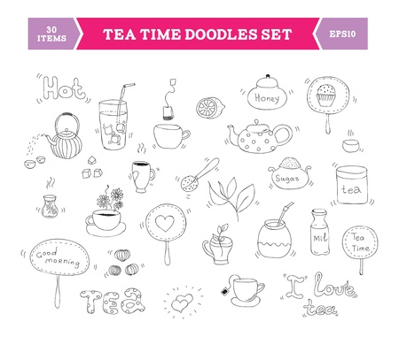 morning tea: Hand drawn illustration of tea doodles sketch elements  Isolated on white background  Illustration