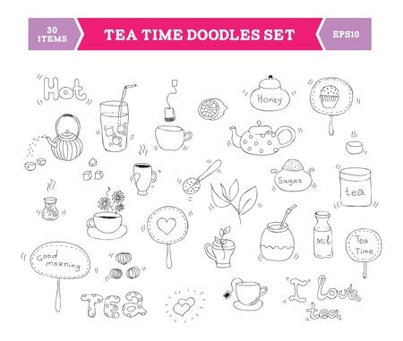 utensil: Hand drawn illustration of tea doodles sketch elements  Isolated on white background  Illustration