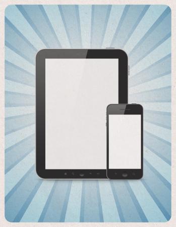 electronic elements: Stile retr� poster o pubblicit� vintage con moderna tavoletta digitale in bianco e telefono cellulare con strisce raggio di sole su sfondo carta grunge