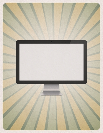 retro computer: Retro style poster or vintage advertisement with modern blank computer monitor on grunge paper background