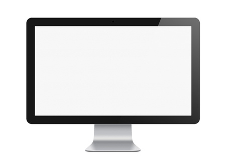 black and silver: Illustration of modern computer monitor with blank screen. Isolated on white. Clipping path added for screen.