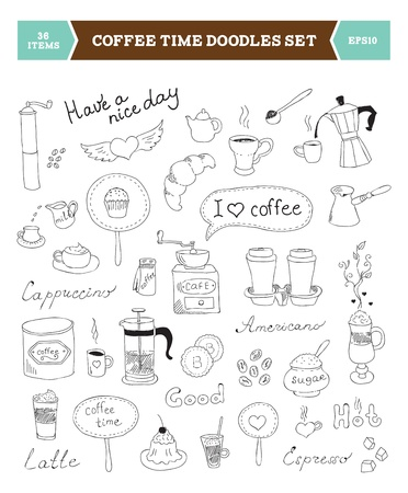 Conjunto de ilustración dibujada a mano de elementos de dibujo de garabatos de café aislado sobre fondo blanco Ilustración de vector