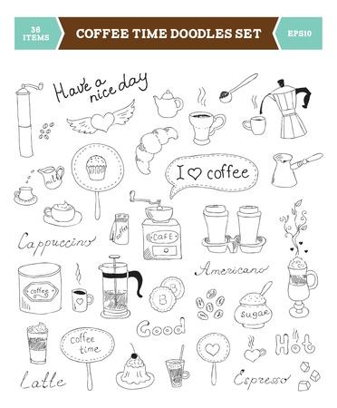 Set van de hand getekende illustratie van koffie doodles schets elementen geïsoleerd op een witte achtergrond