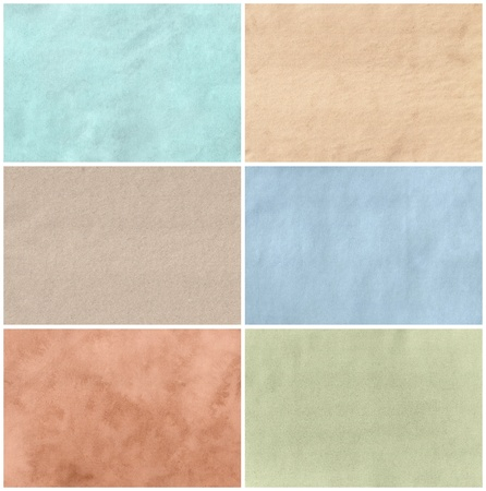 Set of six paper textures with different colors and surface materials  Isolated on white background Stock Photo