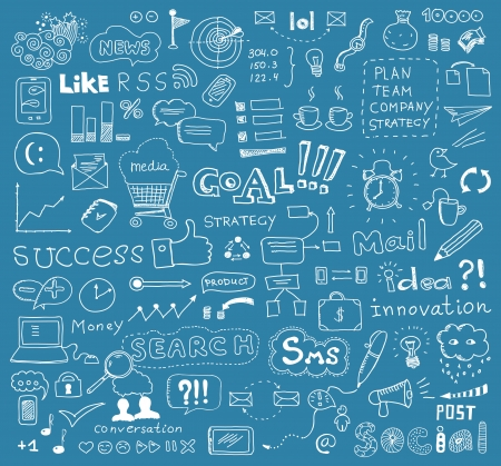 commerce communication: Hand drawn vector illustration of brainstorming doodles elements on business and social media theme  Isolated on blue background Illustration