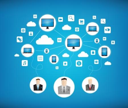 Graphic concetto di vettore di alcuni affari con rete di cloud computing per il lavoro di squadra con i nuovi dispositivi tecnologici moderni isolato su sfondo blu