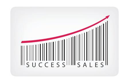 codigos de barra: Ilustración vectorial concepto de etiqueta de código de barras con el éxito de ventas de texto aislado en el fondo blanco