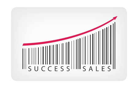 barcode: Vector illustration concept of barcode label with success sales text  Isolated on white background