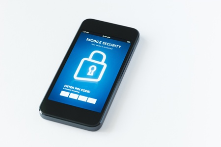 password protection: Modern smartphone with mobile security application interface on a screen  Isolated on white background