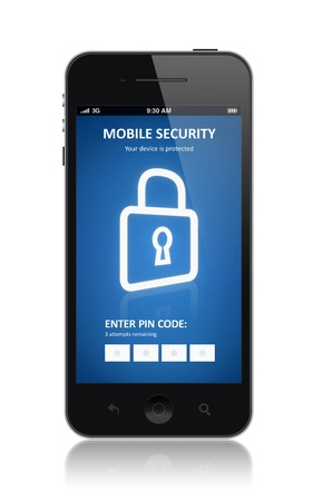 encryption icon: Modern smartphone with mobile security application interface on a screen  Isolated on white background