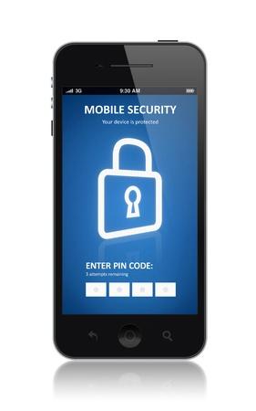 """hasło: Nowoczesny smartfon z mobilnego interfejsu aplikacji bezpieczeÅ""""stwa na ekranie samodzielnie na biaÅ'ym tle Zdjęcie Seryjne"""