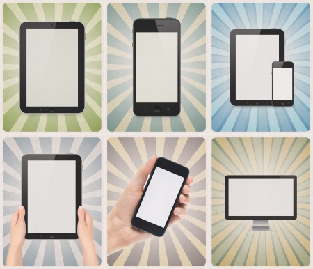 Set of six retro style posters or vintage advertisements with blank modern digital devices, such as smartphone, digital tablet, modern computer monitor on a different grunge paper background texture with sunbeam stripes