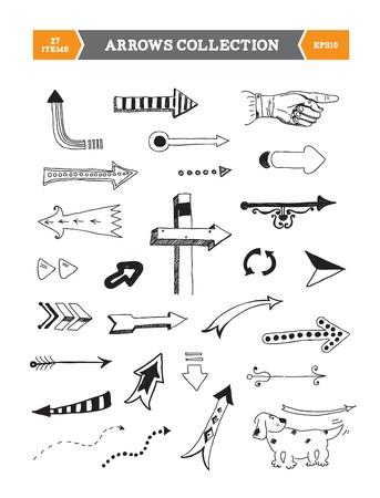 freccia destra: Disegnati a mano illustrazione vettoriale di diverse frecce scarabocchi per il web design isolato su sfondo bianco Vettoriali