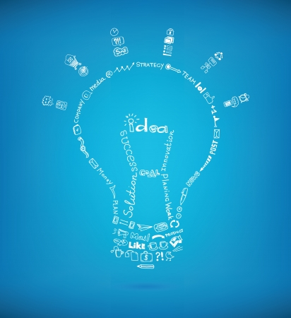 creative communication: Vector light bulb created by many hand drawn business sketch and doodles design elements on blue background  Concept image symbolizing bright ideas