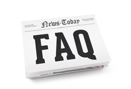 frequently: FAQ word writing on the front page of newspaper stack  Isolated on white background Stock Photo