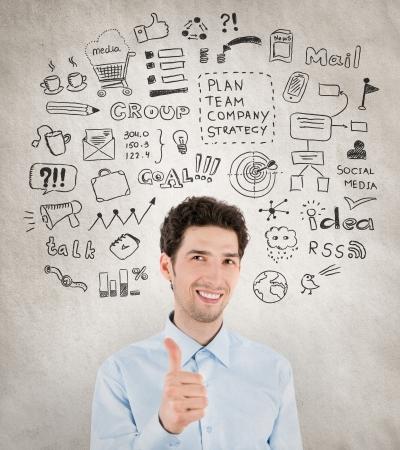 todo: Concept de l'image de beau succ�s homme d'affaires avec beaucoup de main ic�nes autour desquelles symbolisant r�ussite travail, la planification, le d�veloppement, la strat�gie et la gestion dans les affaires isol� sur fond grunge dessin�e