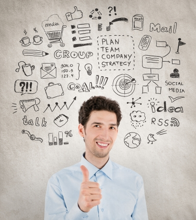 Concept image of successful handsome businessman with lot of hand drawn icons around which symbolizing success work, planning, development, strategy and management in business  Isolated on grunge background  Stock Photo - 20110598