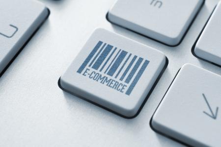 transaction: E-commerce-knop op een moderne computer toetsenbord Stockfoto