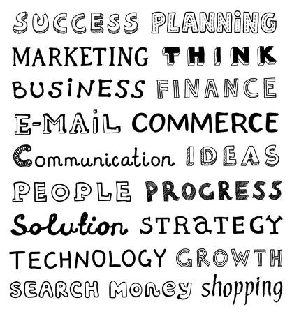 comunicación escrita: colecci�n de dibujado a mano las palabras sobre el tema de negocios y de la comunicaci�n escrita en el estilo y fuentes diferentes aislados sobre fondo blanco