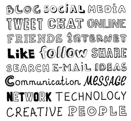 communication �crite: collection de main tir� des mots sur les m�dias sociaux et le th�me de la communication �crite dans un style diff�rent et des polices d'isolement sur le fond blanc